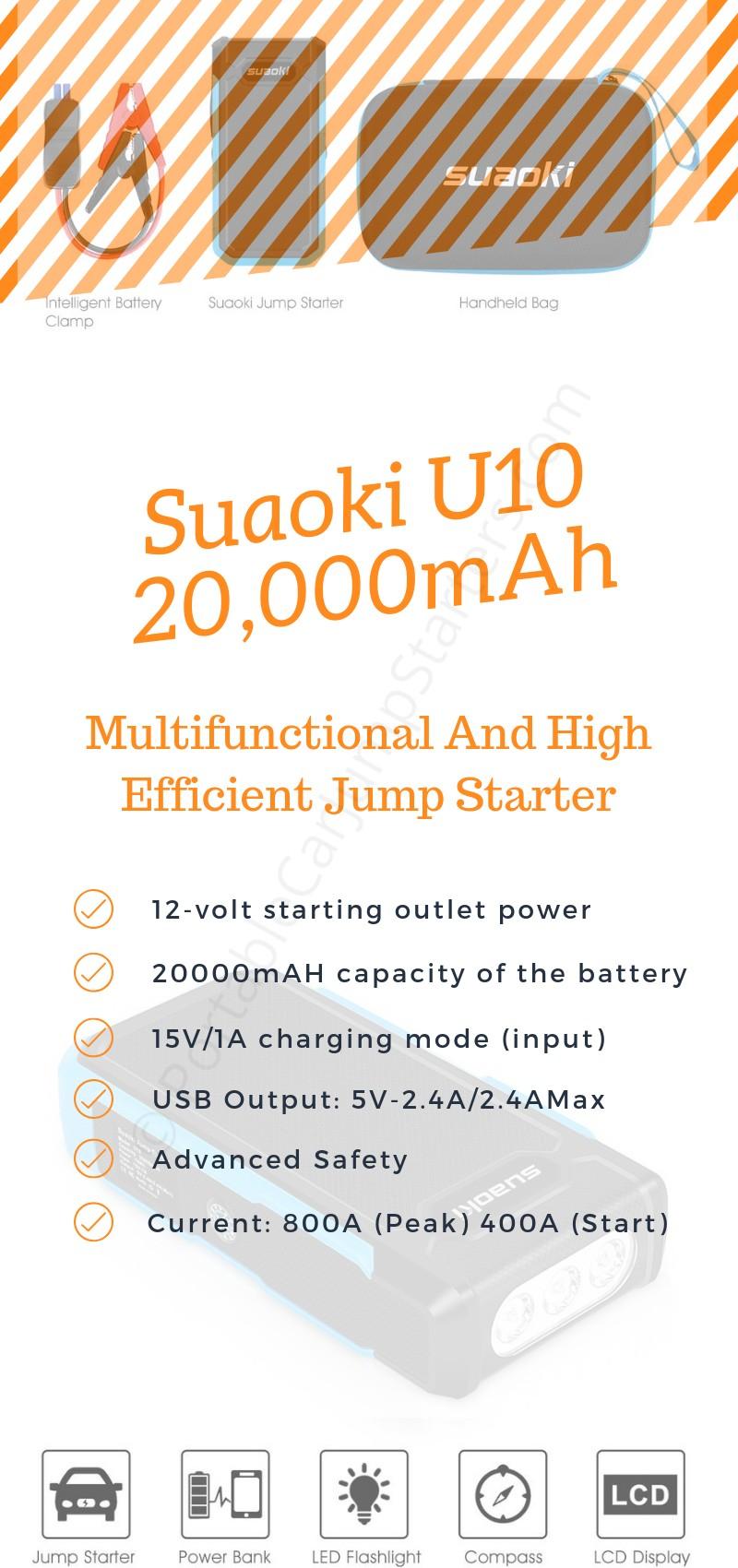 suaoki u10 800A car jump starter