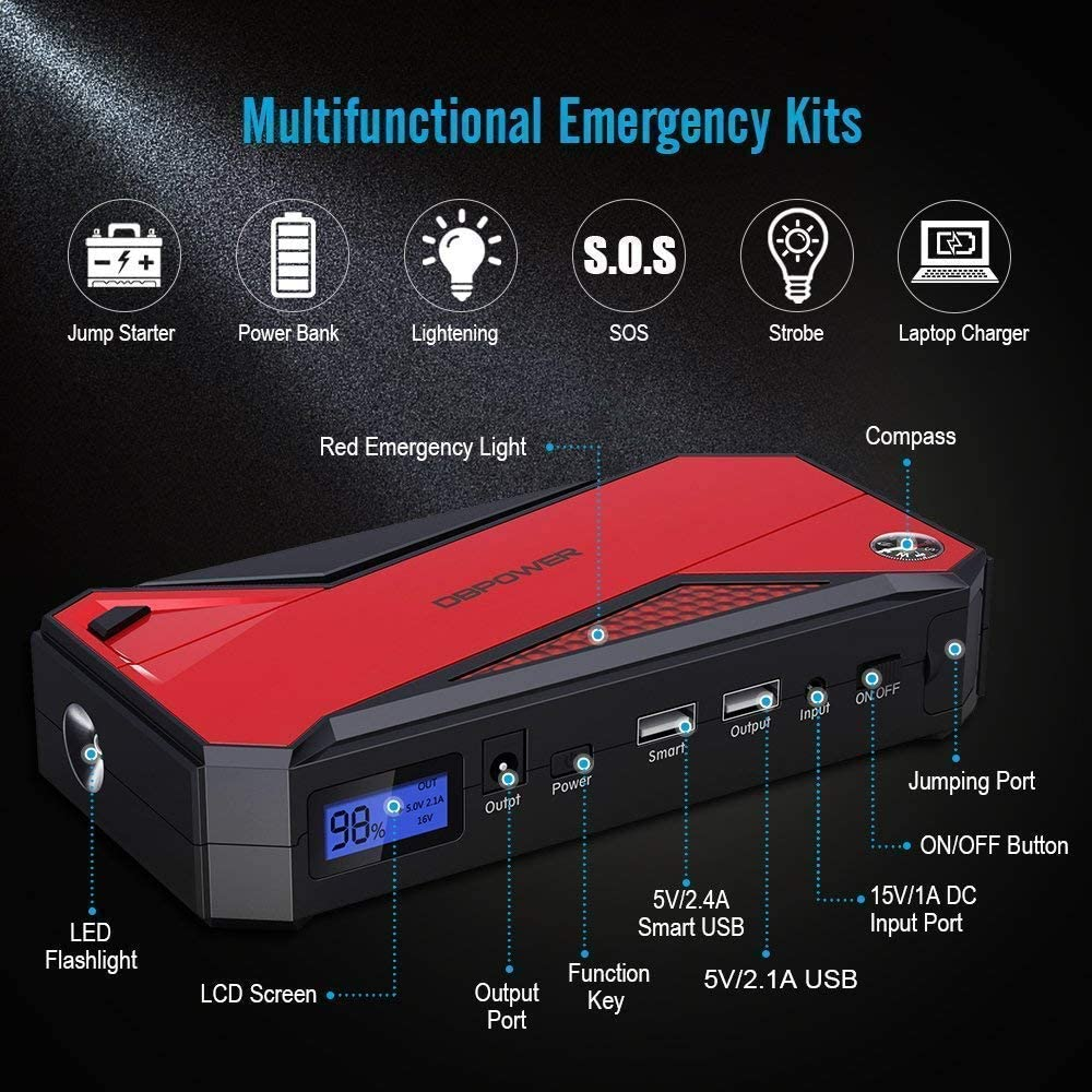 DBPOWER 800A Peak 18000mAh Portable Car Jump Starter, Portable Battery Booster (Red) specifications