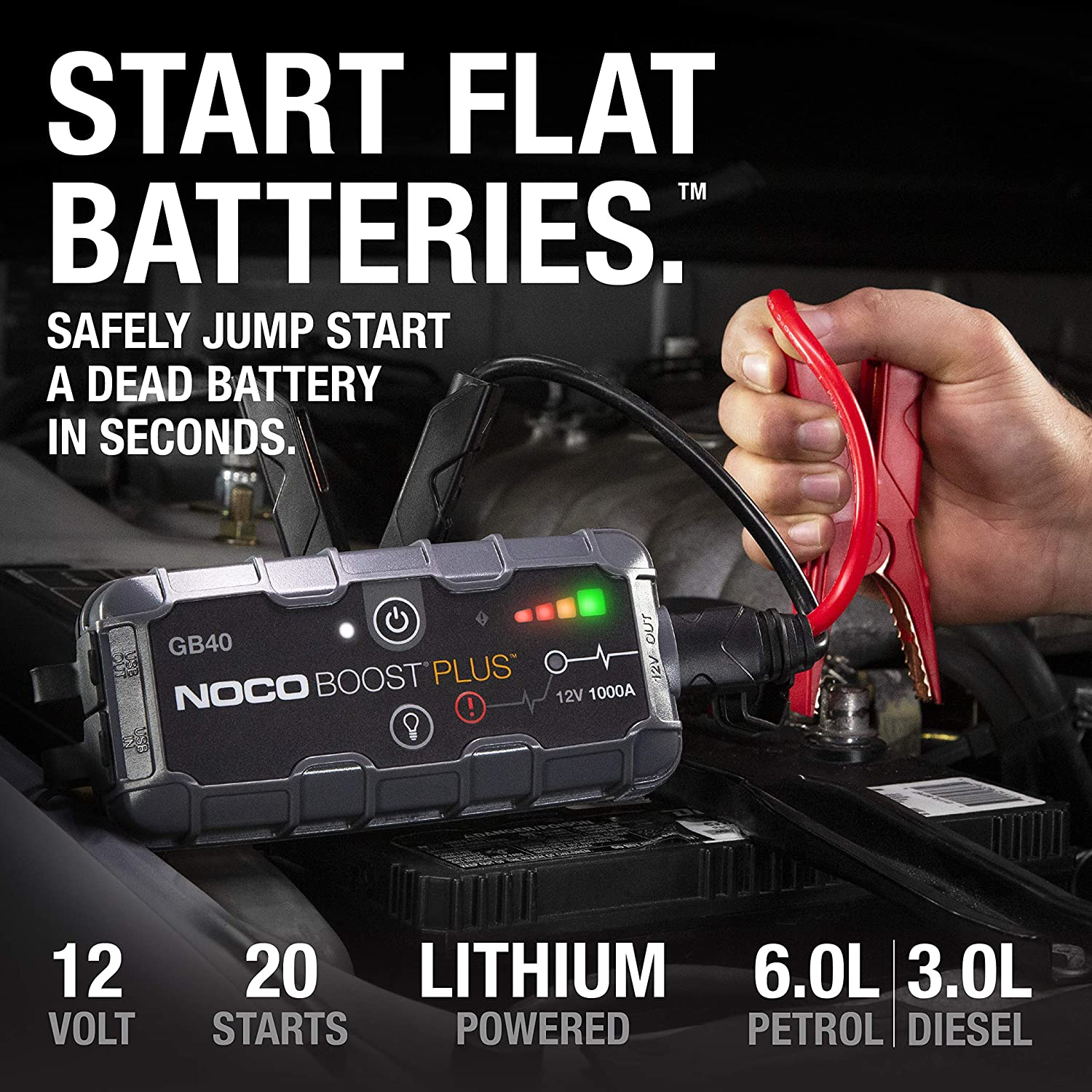 NOCO Boost Plus GB40 1000 Amp 12-Volt Ultra Safe Portable Lithium Car Battery Jump Starter Pack - Specification
