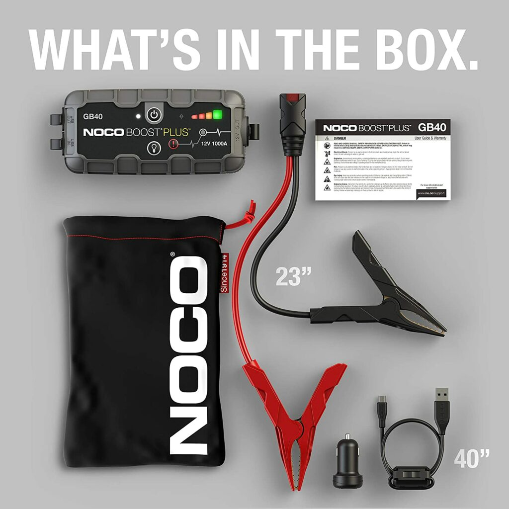 NOCO Boost Plus GB40 1000 Amp 12-Volt Ultra Safe Portable Lithium Car Battery Jump Starter Pack - whats in the box