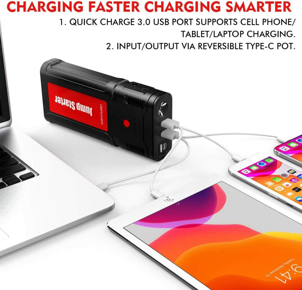DBPower G15 Jump Starter + Portable Power Bank to charge electronic gadgets.